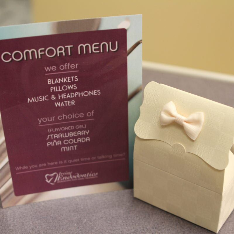 Irvine Endodontics Comfort Menu and New Patient Gift